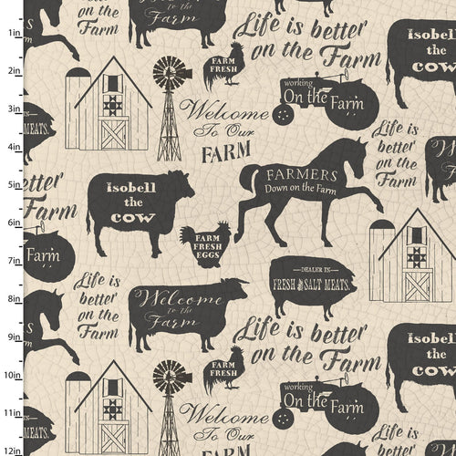 On the Farm Collection Sayings - Priced by the Half Yard - brewstitched.com