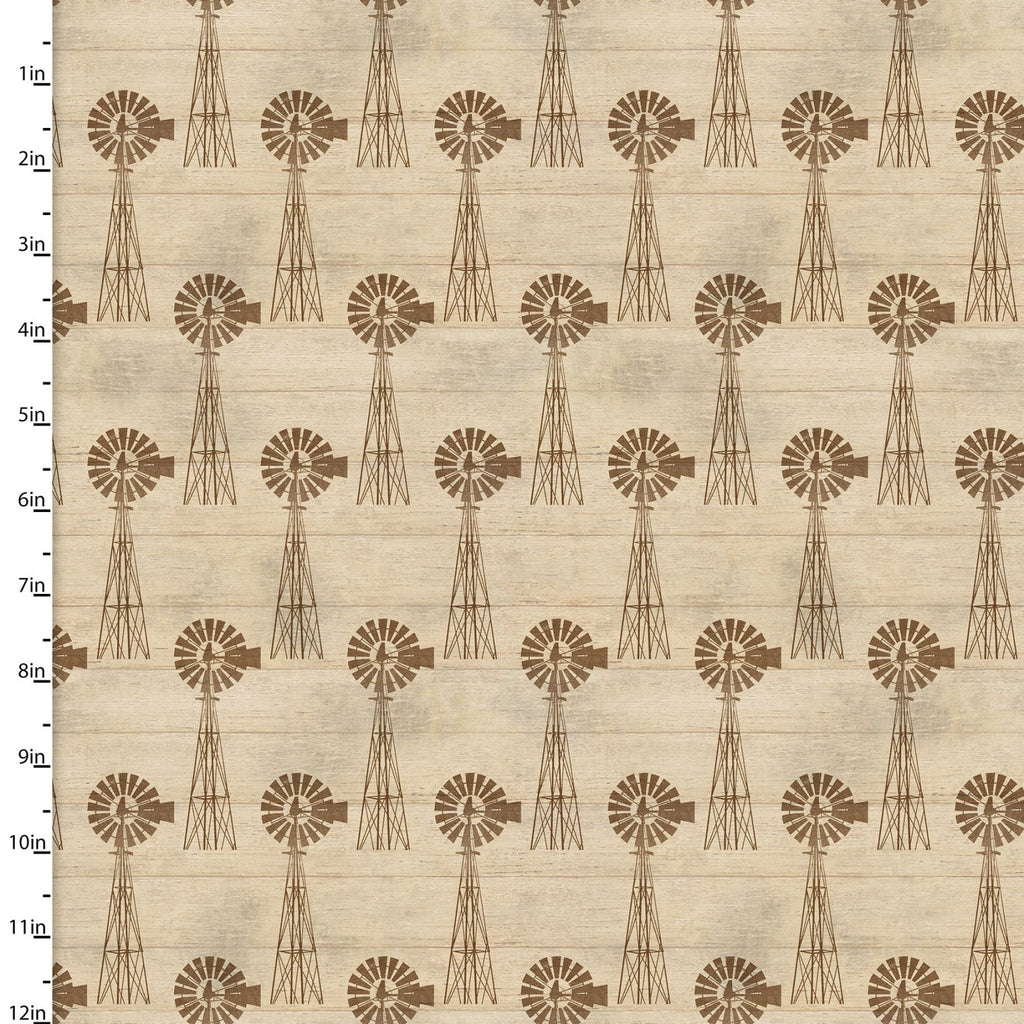 On the Farm Collection Windmill Tan - Priced by the Half Yard - Coming Sept 2020 - brewstitched.com
