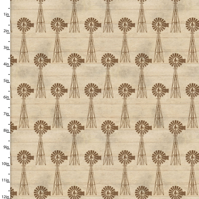 On the Farm Collection Windmill Tan - Priced by the Half Yard - brewstitched.com