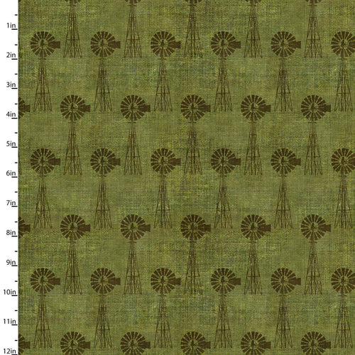 On the Farm Collection Windmill Green - Priced by the Half Yard - brewstitched.com
