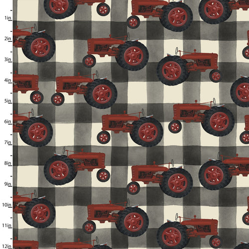 On the Farm Collection Tractor - Priced by the Half Yard - brewstitched.com