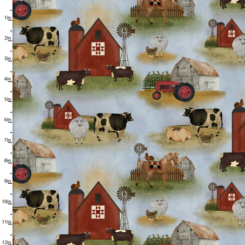 On the Farm Collection Animals - Priced by the Half Yard - brewstitched.com