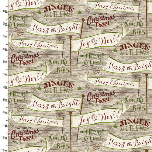 Jingle All The Way Vintage Words - Priced by the Half Yard - brewstitched.com