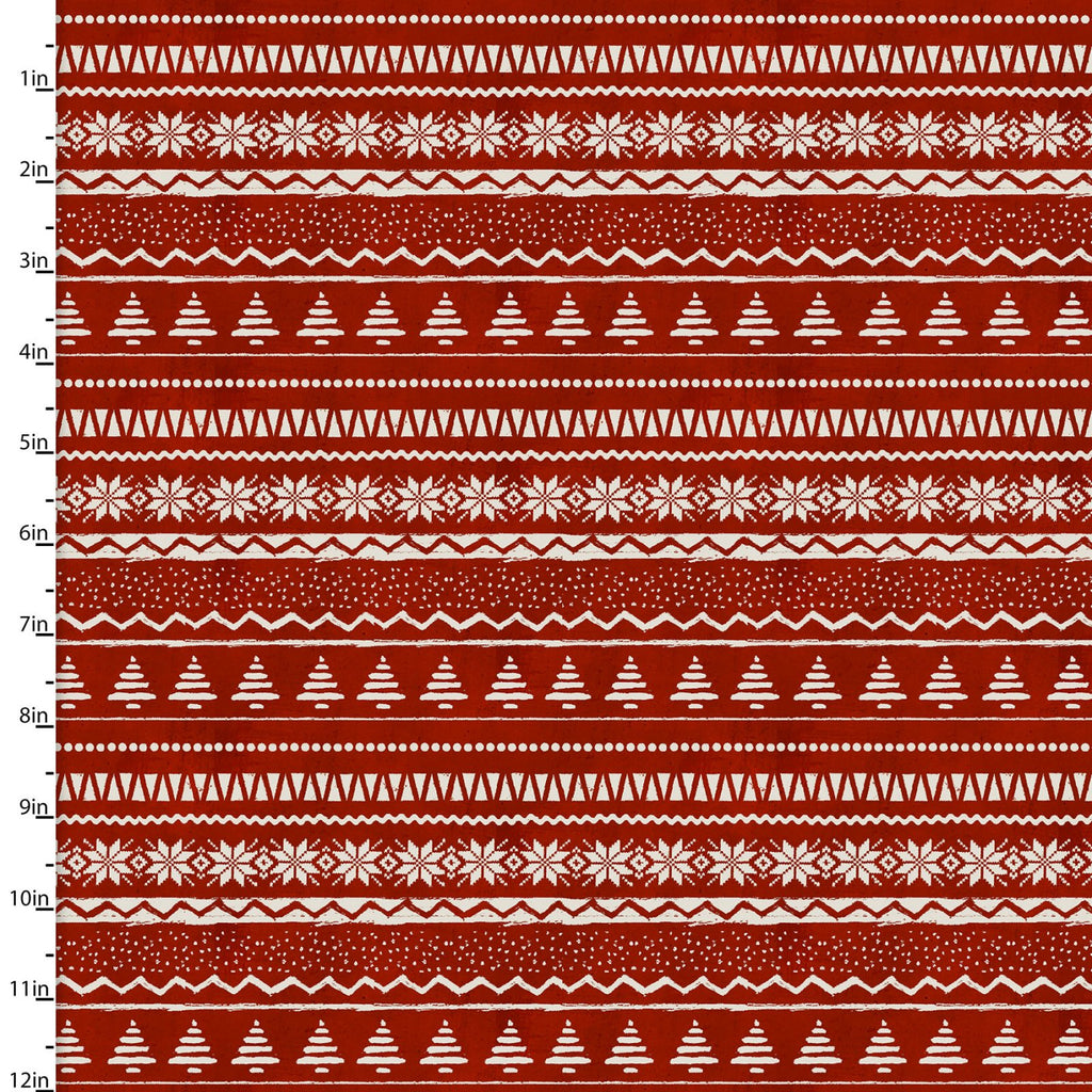 Jingle All The Way Red Nordic - Priced by the Half Yard - brewstitched.com