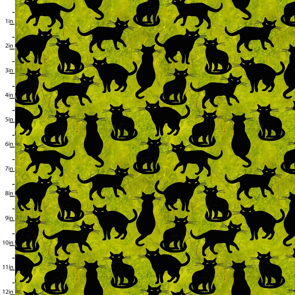 Ghost Party Scaredy Cats on Green - Priced by the Half Yard - brewstitched.com