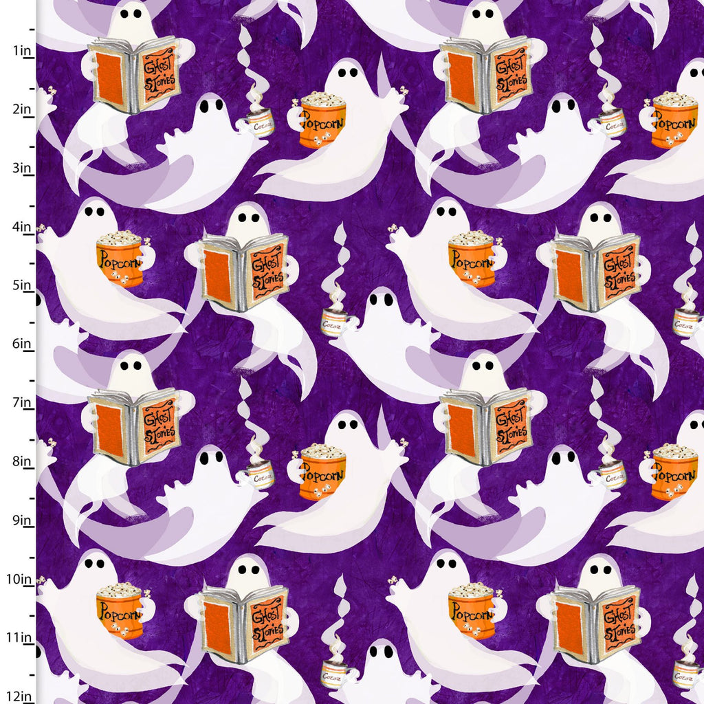 Ghost Party Ghosts on Purple - Priced by the Half Yard - brewstitched.com
