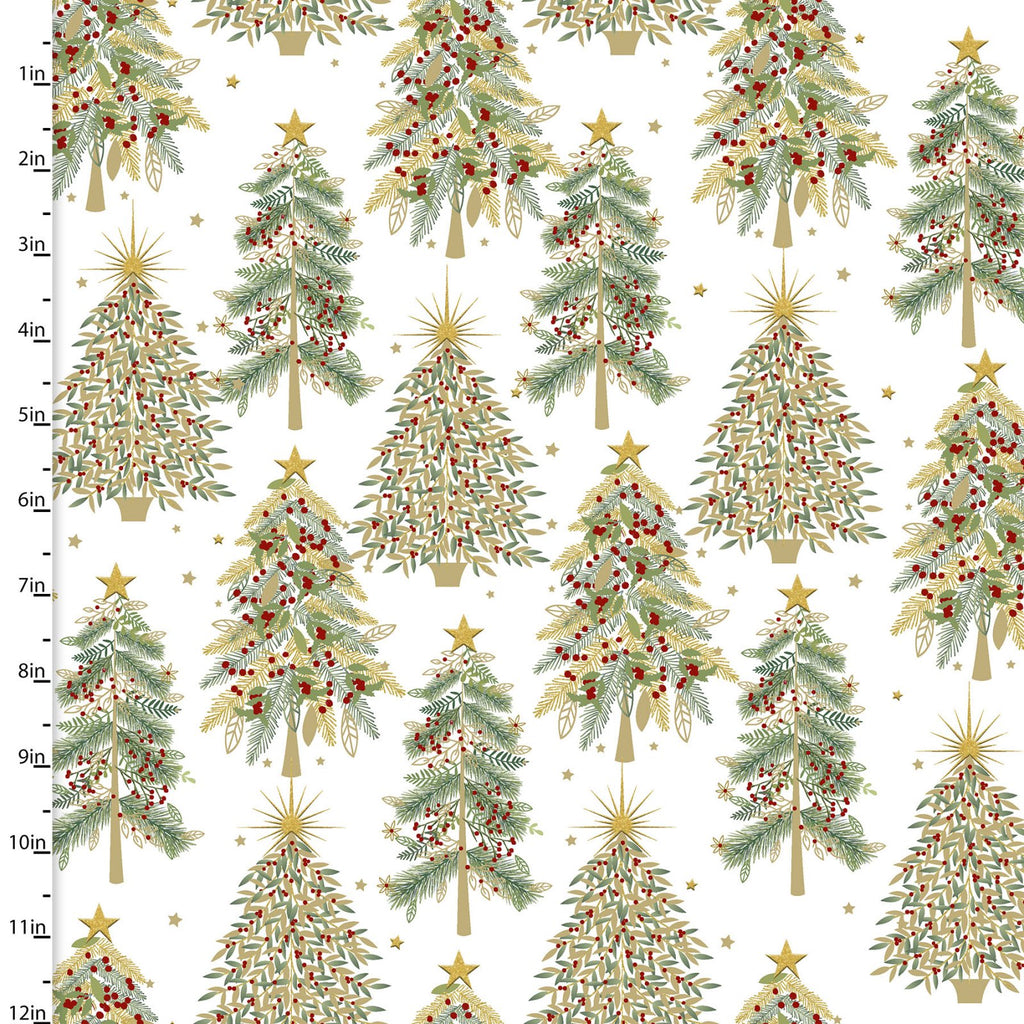 Shimmer and Sparkle Christmas Trees - Priced by the Half Yard - brewstitched.com