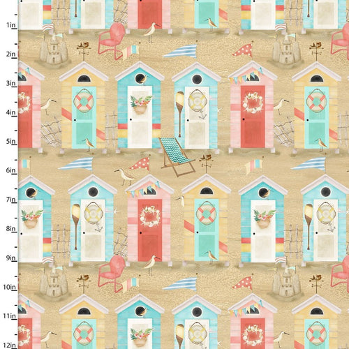 Beach Travel Huts - Priced by the Half Yard - brewstitched.com