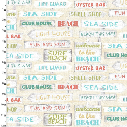 Beach Travel Signs - Priced by the Half Yard - Expected Feb 2021 - brewstitched.com