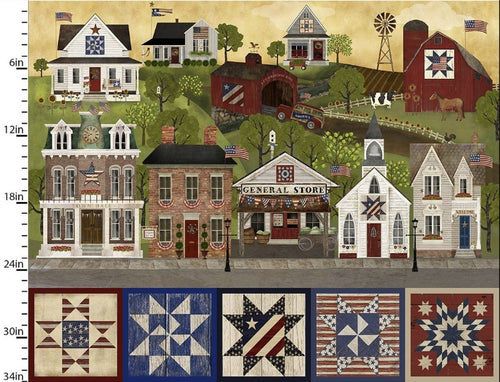 Patriotic Summer Town Panel - Priced by the Panel - Expected Feb 2021 - brewstitched.com
