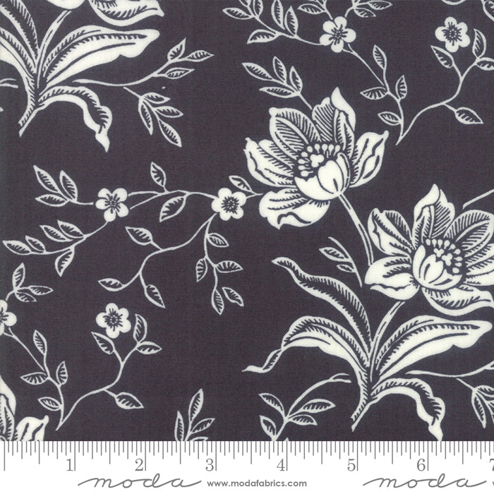 All Hallows Eve Woodblock Floral Black - Priced by the Half Yard - brewstitched.com