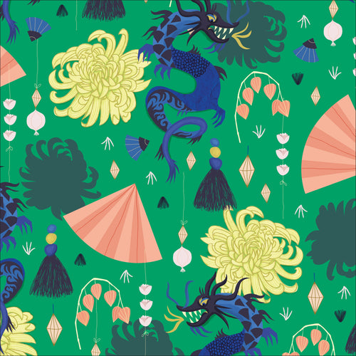 Dragons & Lanterns Fierce Green - Priced by the half yard - brewstitched.com
