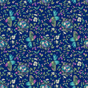 Stag and Thistle Songstress in Navy Multi - Priced by the Half Yard - brewstitched.com