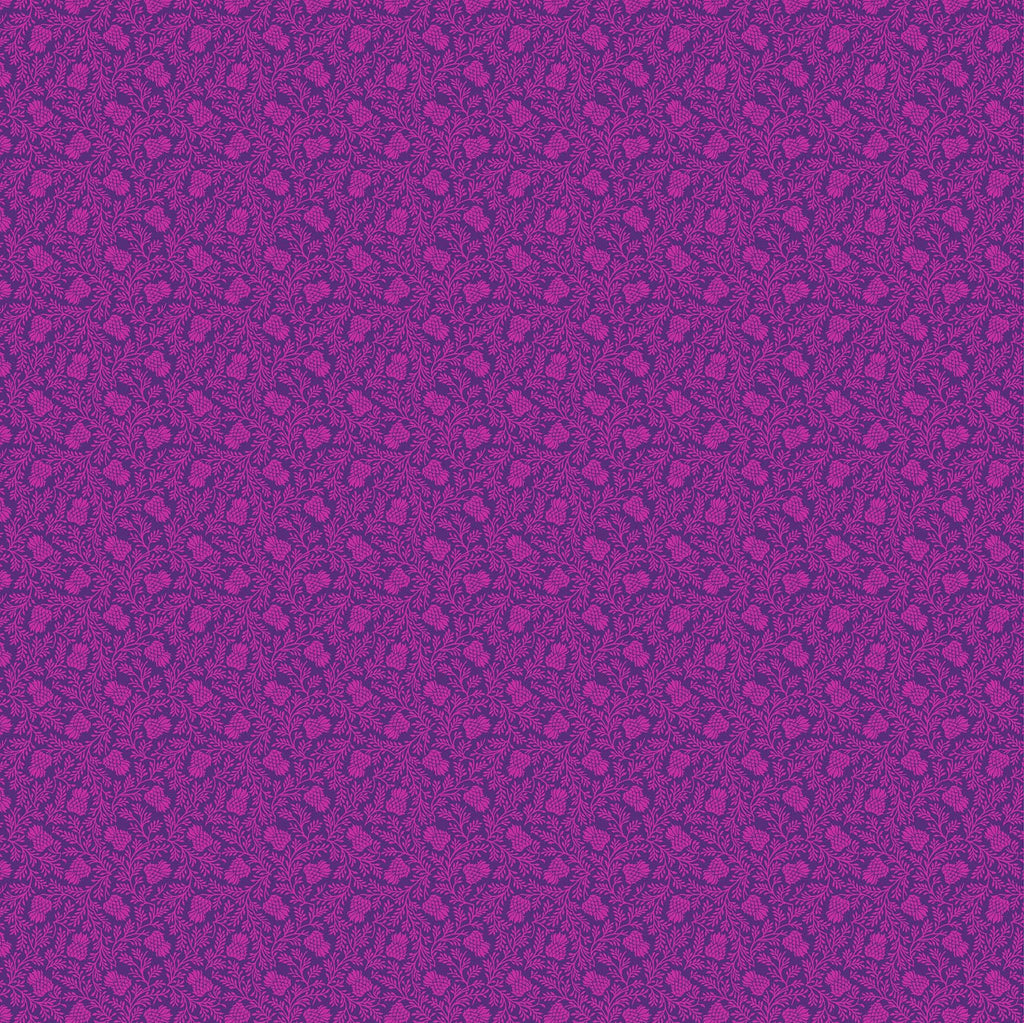 Stag and Thistle Thicket in Magenta - Priced by the Half Yard - brewstitched.com