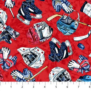Power Play Hockey Red - Priced by the Half Yard - brewstitched.com