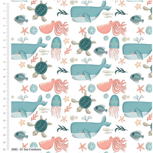 Under the Sea Creatures - Priced by the Half Yard - brewstitched.com
