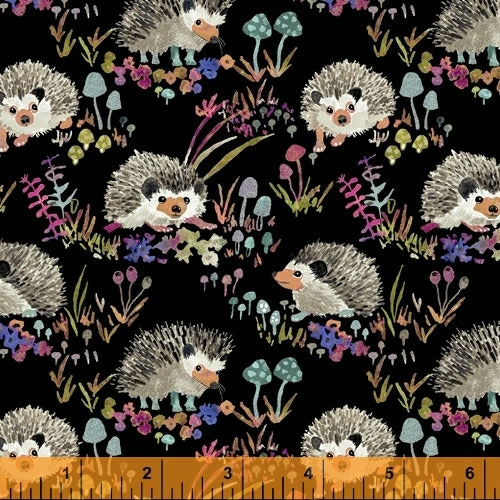Fox Woods Hedgehog Black - Priced by the Half Yard - brewstitched.com