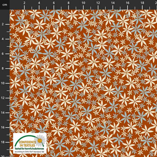 Birds on the Move Flowers Orange Blue - Priced by the Half Yard - Expected Jan 2021 - brewstitched.com