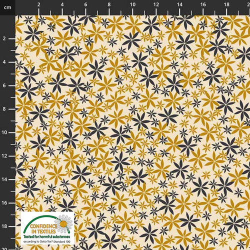 Birds on the Move Flowers Yellow Gray - Priced by the Half Yard - Expected Jan 2021 - brewstitched.com