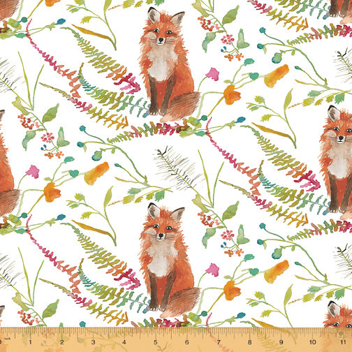 Fox Woods Curious Fox White - Priced by the Half Yard - brewstitched.com