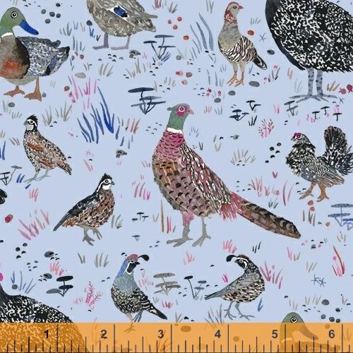 Fox Woods Bird Season Blue - Priced by the Half Yard - brewstitched.com