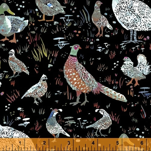 Fox Woods Bird Season Black - Priced by the Half Yard - brewstitched.com