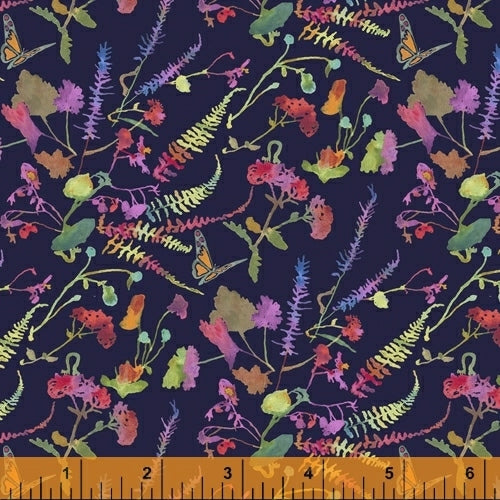 Fox Woods Garden Navy - Priced by the Half Yard - brewstitched.com