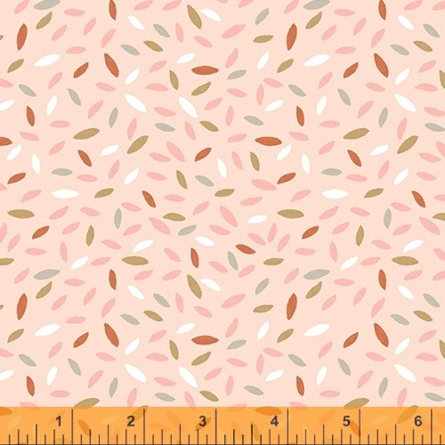 Kenzie Peach Sprinkled Leaves - Priced by the Half Yard - brewstitched.com