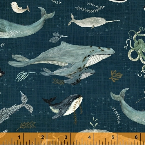 Whale Tales Ocean Whales - Priced by the Half Yard - brewstitched.com