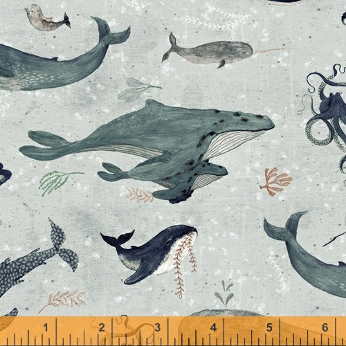 Whale Tales Surf Whales - Priced by the Half Yard - brewstitched.com