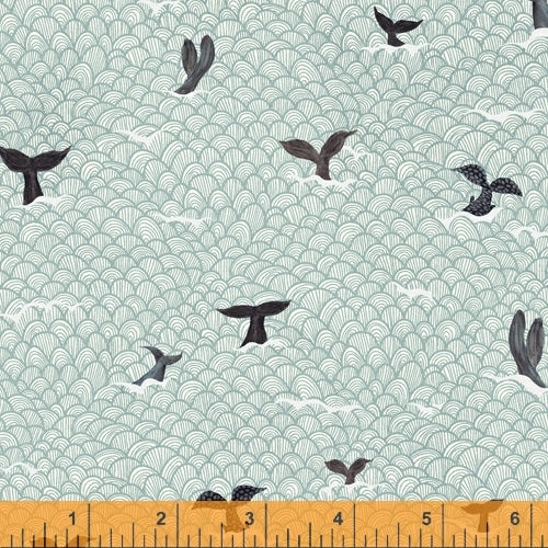 Whale Tales Seafoam Whale Tails - Priced by the Half Yard - brewstitched.com