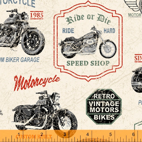 Born to Ride Motorcycle White - Priced by half yard - brewstitched.com