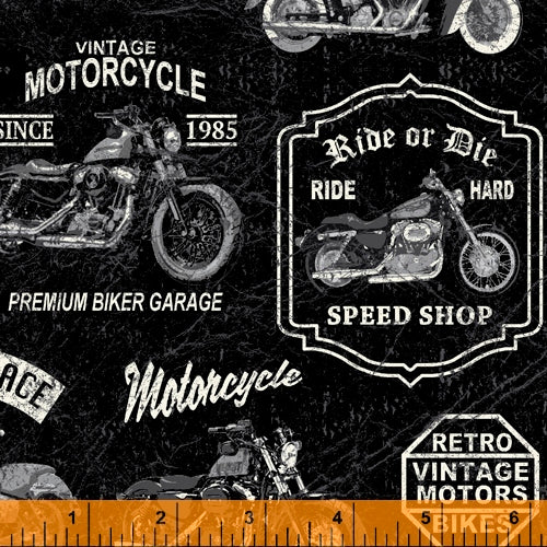 Born to Ride Motorcycle Black - Priced by half yard - brewstitched.com