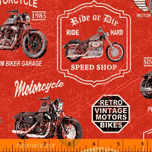 Born to Ride Motorcycle Red - Priced by half yard - brewstitched.com