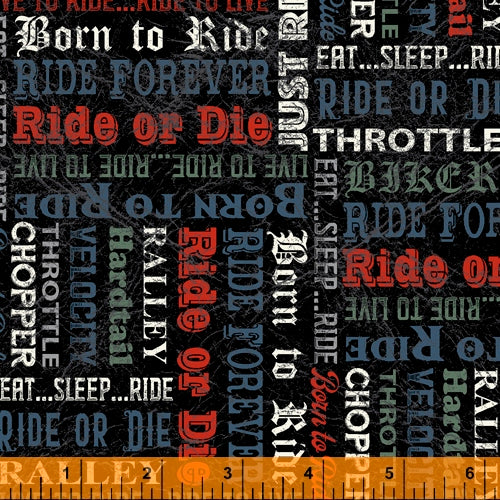 Born to Ride Words Black - Priced by half yard - brewstitched.com