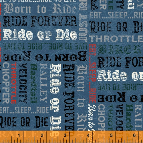 Born to Ride Words Blue - Priced by half yard - brewstitched.com
