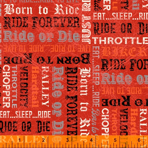 Born to Ride Words Red - Priced by half yard - brewstitched.com