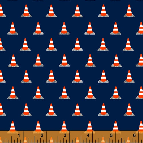 Work Zone Construction Cones on Navy - Priced by the Half Yard - brewstitched.com
