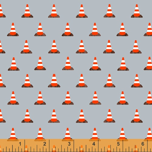 Work Zone Construction Cones on Gray - Priced by the Half Yard - brewstitched.com