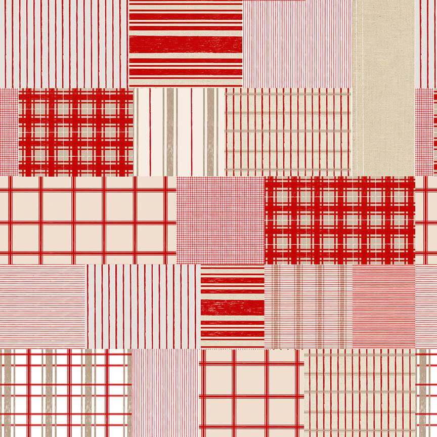 Christmas Memories Patchwork of Plaid and Stripe - Priced by the Half Yard - brewstitched.com