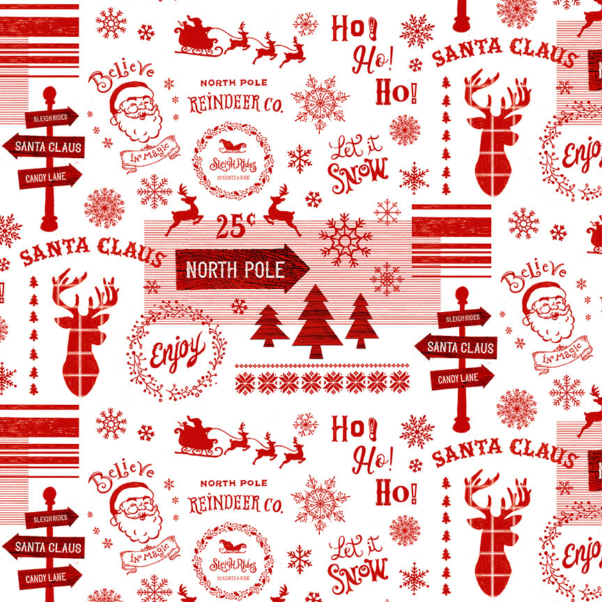 Christmas Memories Words and Holiday Motifs - Priced by the Half Yard - brewstitched.com