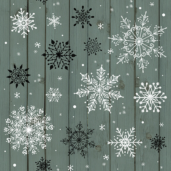Christmas Memories Snowflakes on Green Wood Grain - Priced by the Half Yard - brewstitched.com