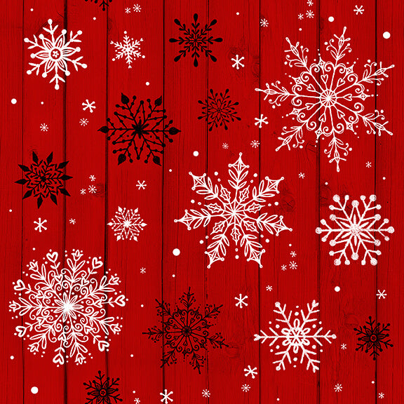 Christmas Memories Snowflakes on Red Wood Grain - Priced by the Half Yard - brewstitched.com