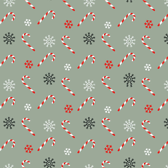 Christmas Memories Tossed Candy Canes - Priced by the Half Yard - brewstitched.com