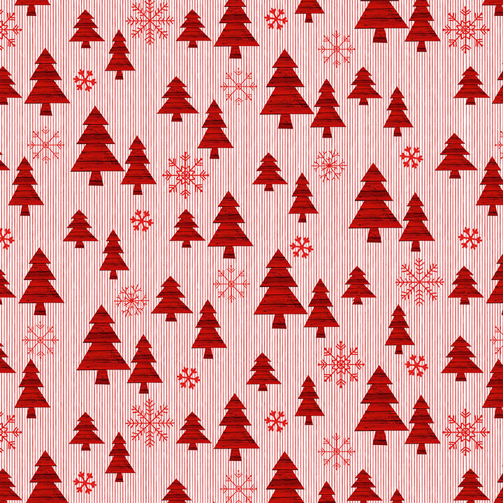 Christmas Memories Trees on Small Stripe - Priced by the Half Yard - brewstitched.com