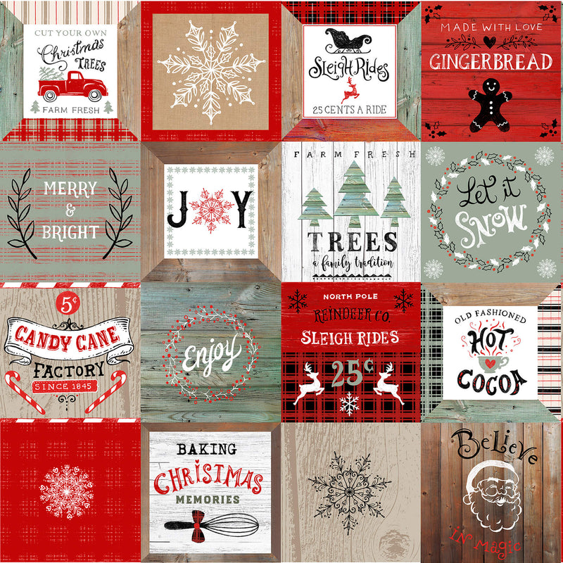 Christmas Memories Vintage Motifs in Blocks - Priced by the Panel - brewstitched.com