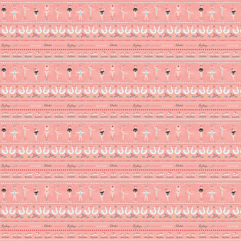 Bella Ballerina Pink Novelty Stripe - Priced by the Half Yard - brewstitched.com