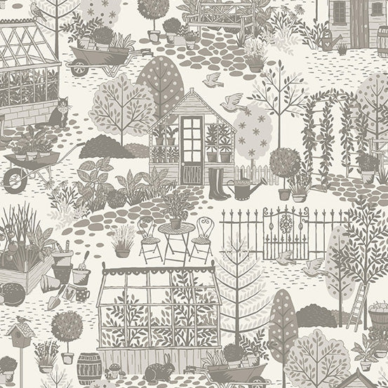 Clara's Garden Garden Scene Grey - Priced by the Half Yard - Coming Oct 2020 - brewstitched.com