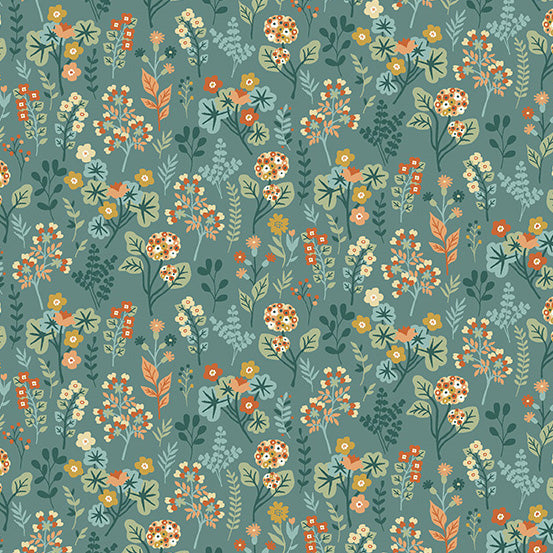 Clara's Garden Plants on Blue - Priced by the Half Yard - Coming Oct 2020 - brewstitched.com