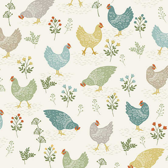 Clara's Garden Chickens on Off White - Priced by the Half Yard - Coming Oct 2020 - brewstitched.com